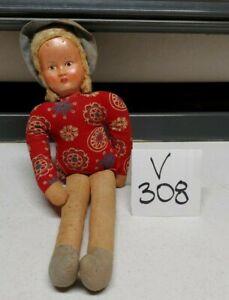 """1940'S VINTAGE Poland Cloth Rag Doll Celluloid face 12"""" Tall Doll"""