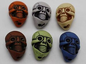 20-Mixed-Color-Halloween-Gothic-Skull-Acrylic-Beads-Charms-25mm-Double-side