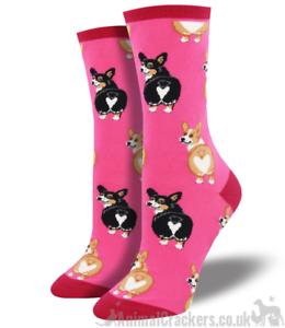 Socksmith Womens Crew Socks Dog Corgi Butt Blue Cotton Blend Novelty Footwear