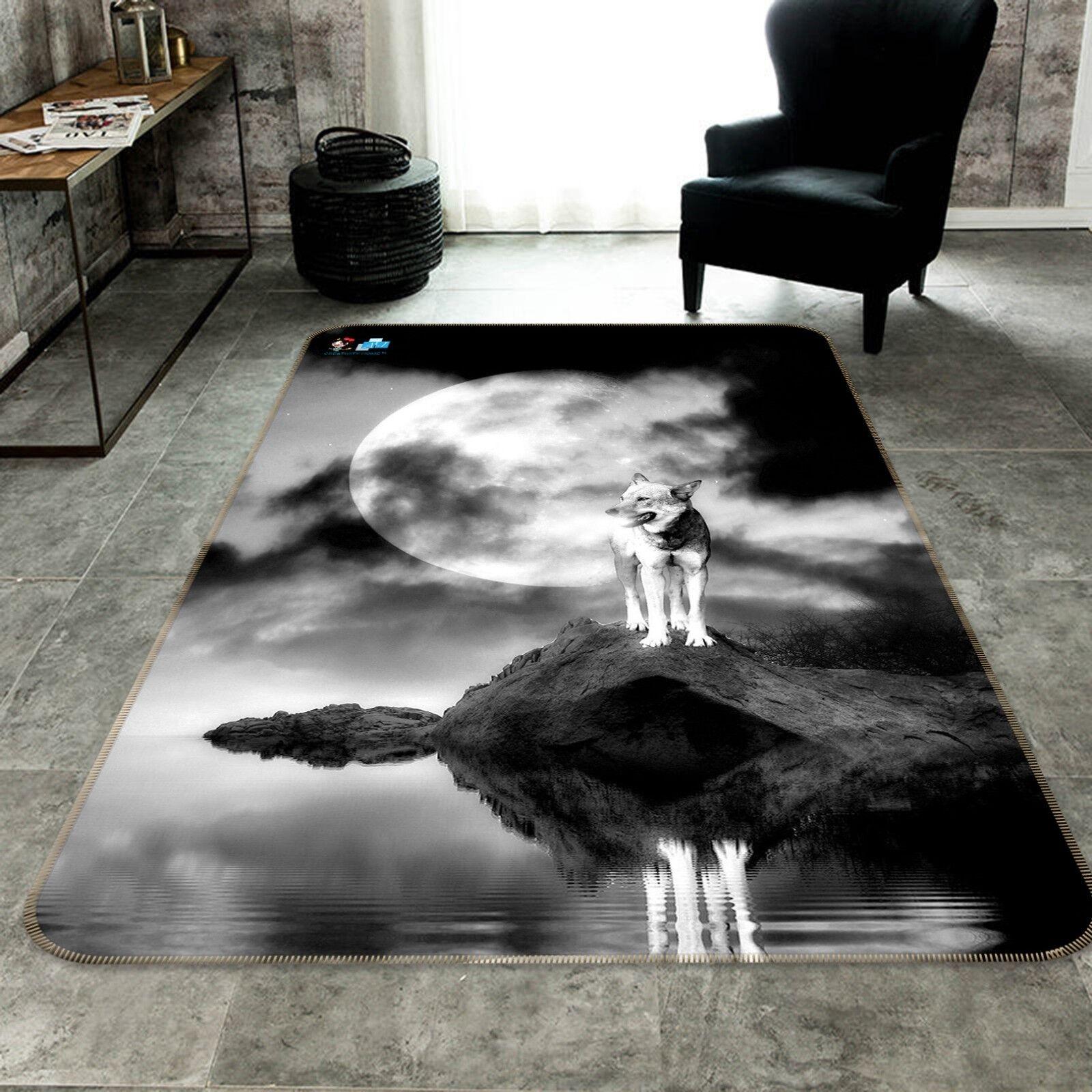 3D Moon Wolf Animal 02 Non Slip Rug Mat Room Mat Quality Elegant Carpet US Cobb