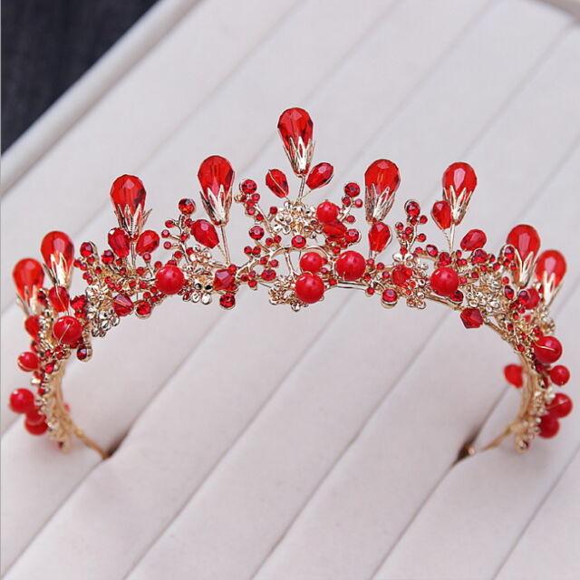 6.5cm High Elegant Red Pearl Crystal Adult Tiara Crown Wedding Prom Party Pagean