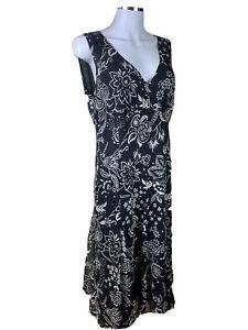 Sportscraft-Size-14-Black-amp-Biege-Floral-Fit-N-Flare-Midi-Dress-Polyester
