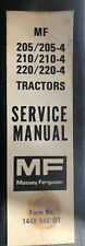 Vintage Massey Ferguson Service Manual 1448648m2 For 205 210 220 Compact Tractor
