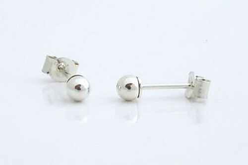 9ct White Gold 3mm Round Ball Studs Sleeper Earrings
