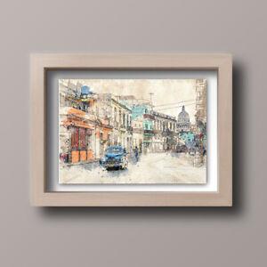 Watercolour-Cuba-Havana-Scene-Skyline-Home-Print-Gift-Wall-Art-A4-Unframed