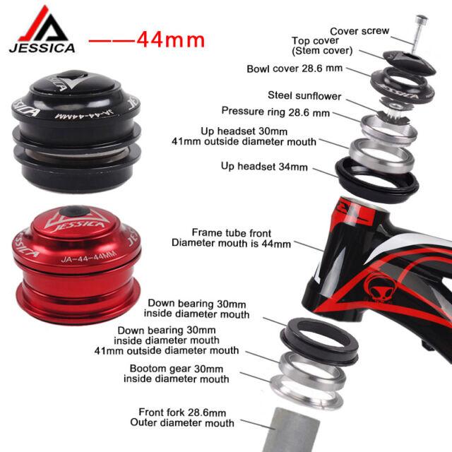 JESSICA 1-1/8 Threadless MTB Road Bike Headset 44mm for 28.6 Straight Fork/Frame