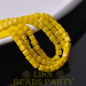 100pcs-4mm-Cube-Square-Faceted-Crystal-Glass-Loose-Spacer-Beads-Opaque-Yellow