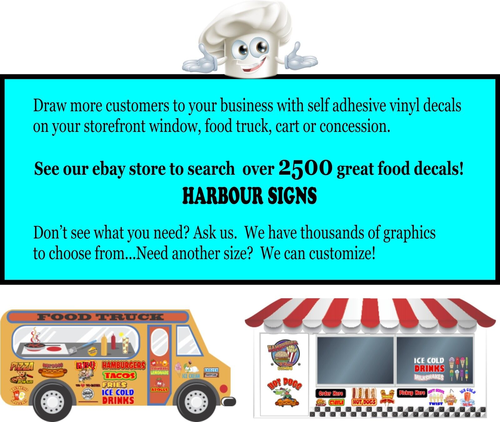 Hot Dogs DECAL Choose Your Size Food Truck Concession Vinyl Sticker