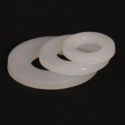 White M5*10*1mm Nylon Flat Washers Plastic Washers to Fit Metric Bolts /& Screws