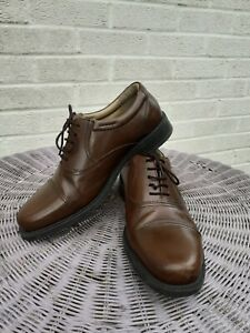 CLARKS MENS BROWN LEATHER SHOES, SIZE 7