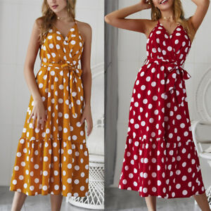Women-039-s-Casual-V-Neck-Sleeveless-Polka-Dot-Boho-Beach-Midi-Summer-Party-Dress