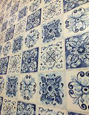 Efecto de azulejo marroquí, Lavable Cocina/Cuarto De Baño Papel Tapiz en Blues & Cream