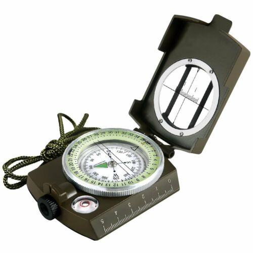Military Sighting Compass Geology Metal Pocket Green Hiking Satellite
