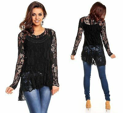 ► TWO IN ONE STRICK SHIRT 2tlg SPITZE HIGH LOW TUNIKA GOTHIC EMO OBERTEIL XS/S/M