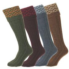 Olivgr/ün////Dunkelrot Bisley Socken mit Strumpfband Gr/ö/ße M//L