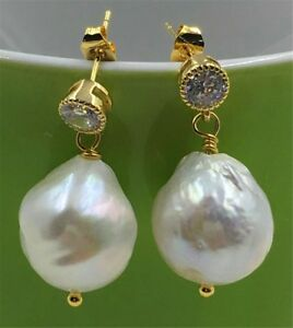 Mesmerizing-AAA-13-14MM-HUGE-south-sea-pearl-chain-earrings-18K-GOLD-earbob