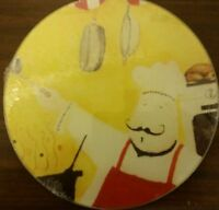 Rare Cutting Board / Trivet, Glass, Round, Fat Chef, Approx 8