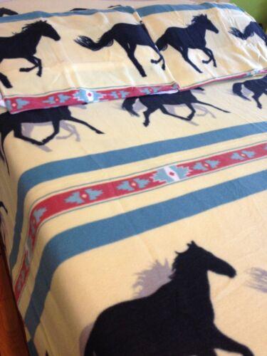 Running Horses Lightweight Fleece Blanket Set Western Cowboy Southwestern Decor