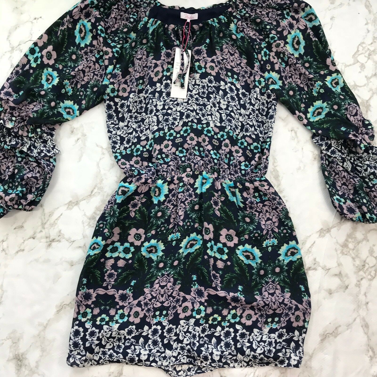 NWT Parker Long Sleeve Printed Floral Dress Size Small Spring purplec Eden BL