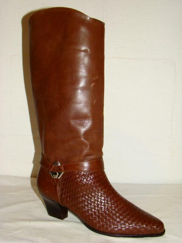 SHOESTRINGS Women's Size 5 1 2 M Brown Woven Leather Uppers Tall Western Boots