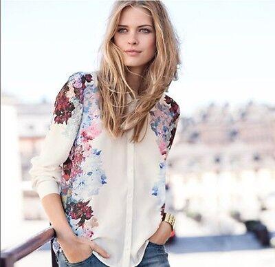 New Fashion Chiffon Floral Print T Shirt Blouse long sleeve women tops