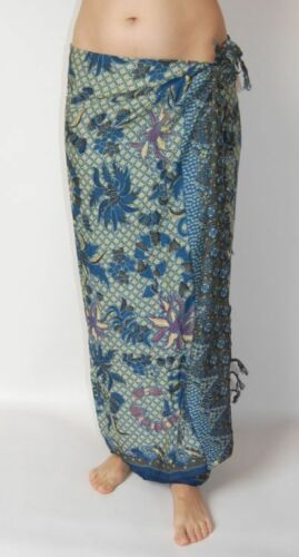 sa237 NEW LADIES SARONG BEACH DRESS HOLIDAY WRAP COVER UP SKIRT BLUE ONE SIZE