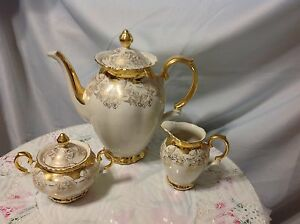 Image is loading 1940-Bareuther-Bavaria-Vintage-3pc-Coffee-Set-in- & 1940 Bareuther Bavaria Vintage 3pc Coffee Set in Cream/Gold ...