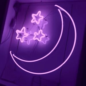 Image Is Loading New Moon Stars Purple Pub Acrylic Neon Light