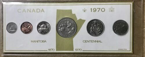 1970 Coin Year Set Details about  /CANADA - with Manitoba Dollar Display Card 6