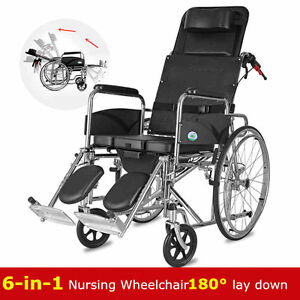 Image is loading Heavy-Duty-multifunction-folding-Recliner-wheelchair -Removable-commode-  sc 1 st  eBay & Heavy Duty multifunction folding Recliner wheelchair Removable ... islam-shia.org