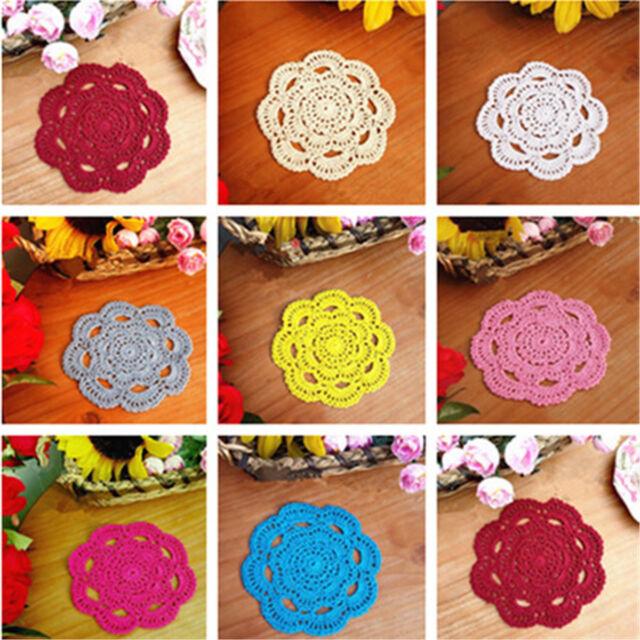 2pcs Handmade Round Crochet Cotton Table Cup Mats Placemats Doilies