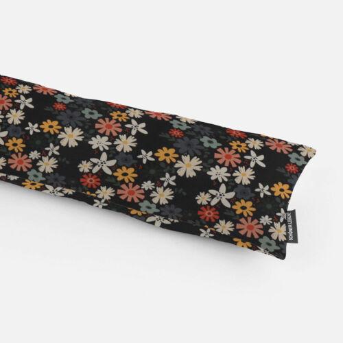 Zugluftstopper Halbpanama Blumen Blüten schwarz bunt verschiedene Größen