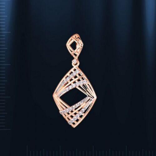 Rusa Rose rotgold 585 colgantes con CZ Rhombus rombo nuevo