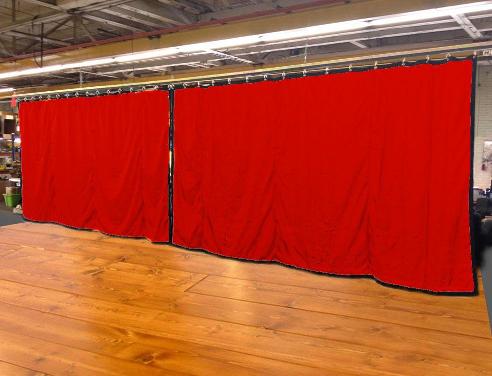 Lote de (2) Cortina Roja etapa telón de fondo, no-FR, 9 H X 15 W