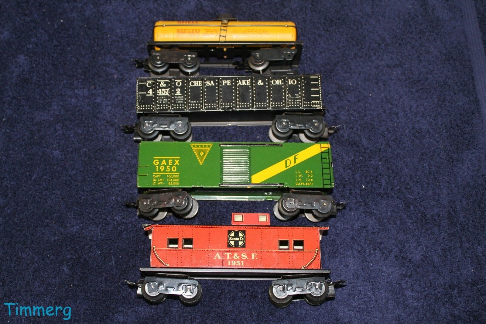 Marx Vintage Lot 4 Freight Cars Shell 652, C&O 44572, GAEX 1950, ATSF 1951 Nice