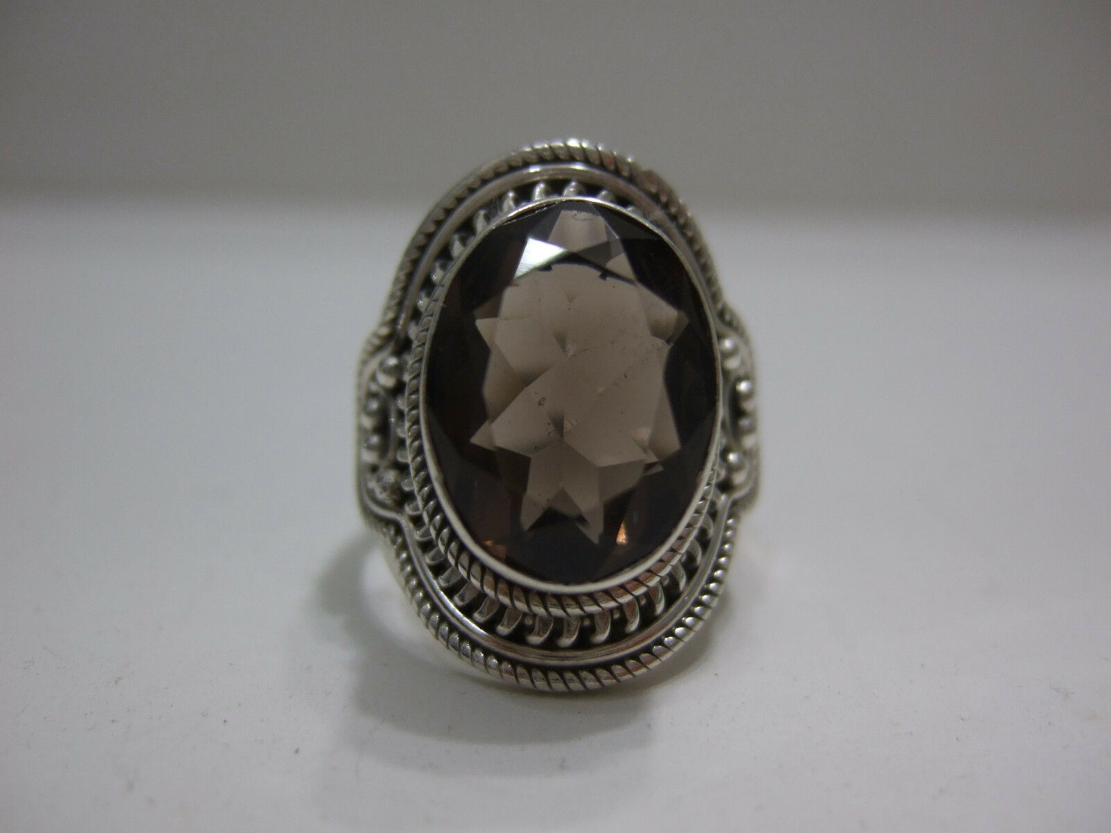 FACETED SMOKEY QUARTZ & SOLID 925 STERLING RING  sz9.25 - BOHO BEAUTIFUL