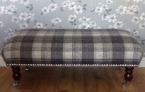 Footstool Stool In Laura Ashley Josette Midnight Fabric