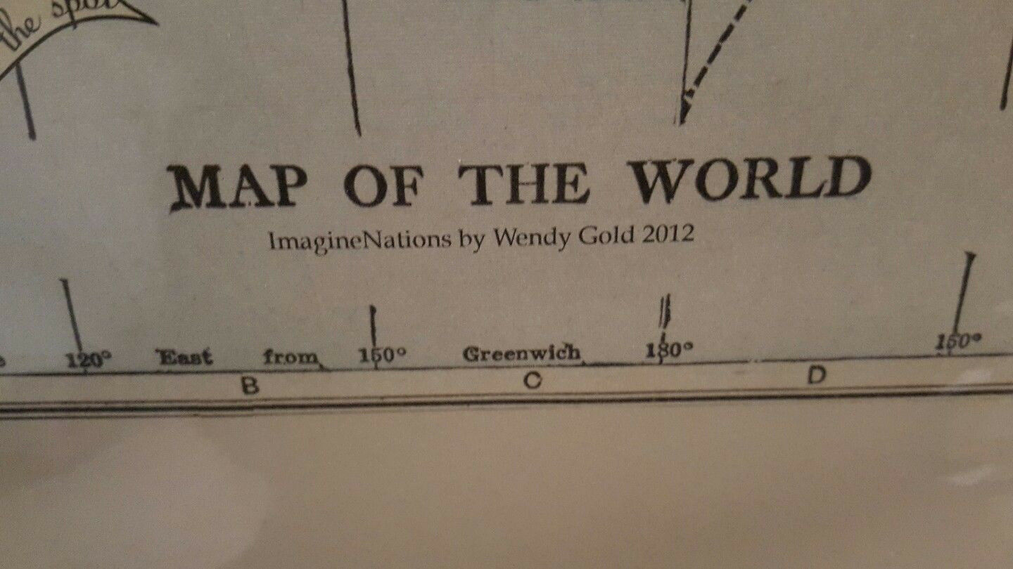 Authentic Wendy Gold Imaginations Map of the World Wall Art, Numberot