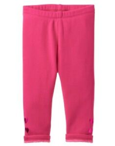 GYMBOREE-ICE-DANCER-PINK-w-HEART-HEM-FLEECE-PLUSH-LINED-LEGGINGS-6-12-18-24-NWT