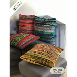 Rag-Rug-Pillow-Case-Hand-Loomed-Cushion-Cover-Recycled-Fabric-Sofa-Cushion-4-Pcs