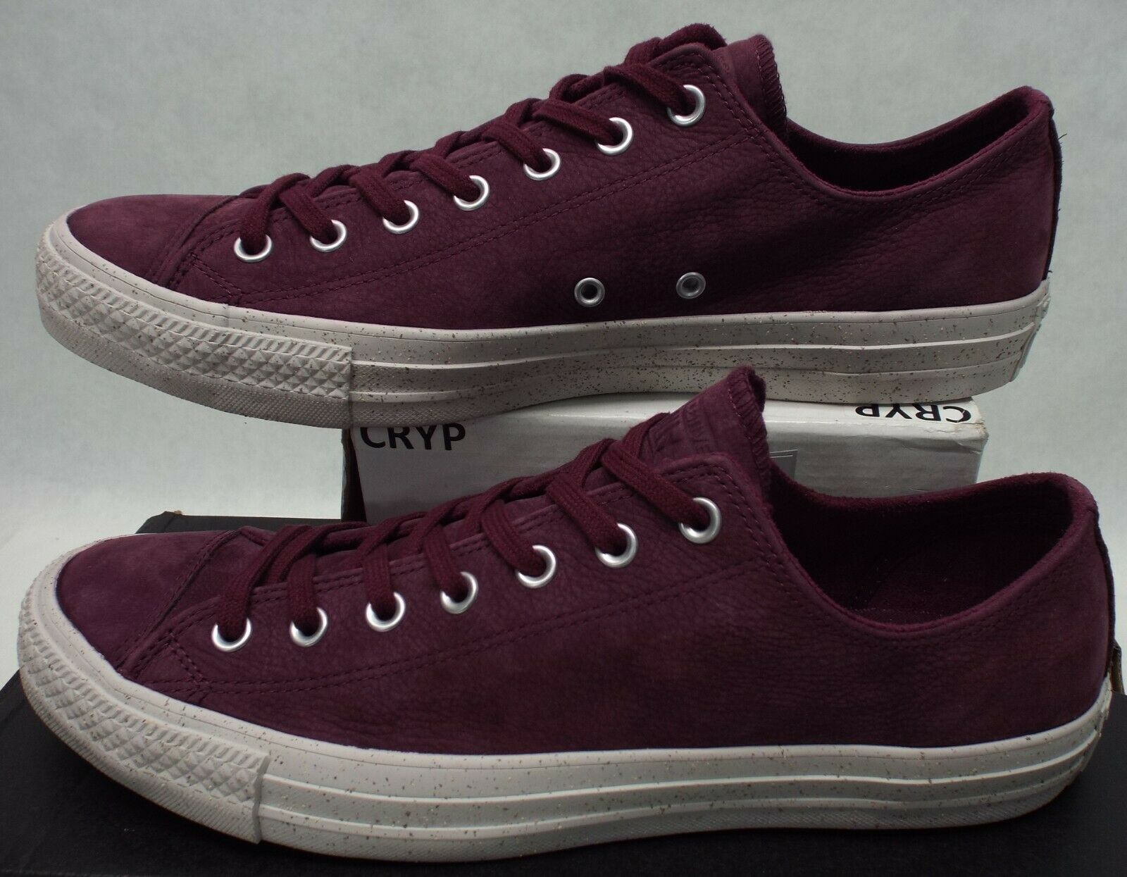 New Mens 10 Converse Chuck Taylor CTAS OX Dark Sangria Leather shoes  80 159186C