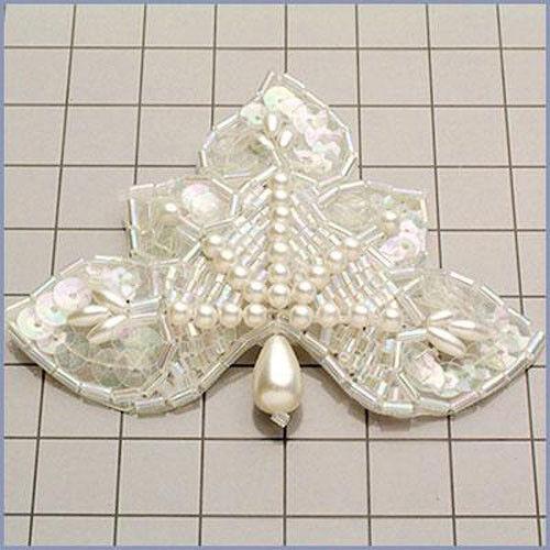 CRYSTAL WHITE IRIS DESIGNER PEARL SEQUIN BEADED APPLIQUE 2614-D