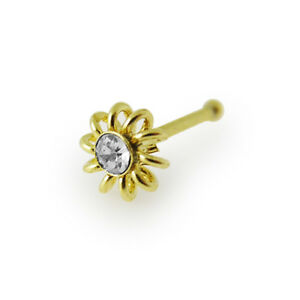22Gauge-6mm 9K Yellow Gold Jeweled Flower End ball Nose Stud Sold Per Piece Only