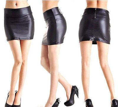 New  Women Stretch PU Leather Look Tights Back Zip Mini-skirt Dress