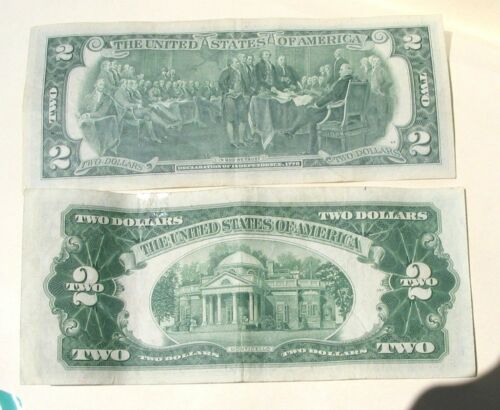 +1 Old Cent US Coin 1953 Red Seal /&1976 Bicentenial 200 years 3//SET:Two $2 Bills
