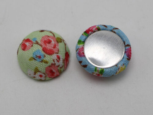 50 Mixed Color Flatback Fabric Flower Covered Buttons Round 15mm Half Ball