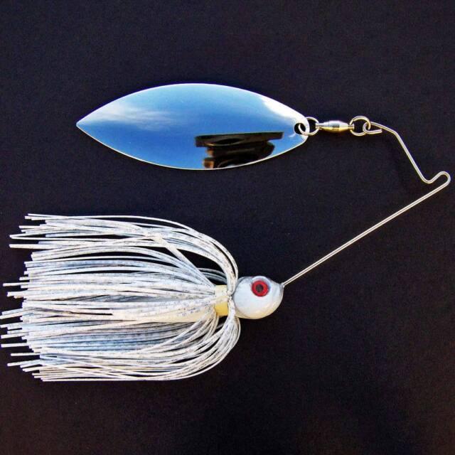 Bassdozer spinnerbaits SHORT ARM WILLOW 3/4 oz WHITE SILVER spinner bait lures