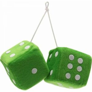 "Pair VPADICEGNW vintage parts usa hot rod 3/"" Green Fuzzy Dice with White Dots"