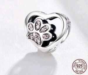 Katze-Herz-Fussabdruck-Anhaenger-Glanz-echt-925-echt-Sterling-Silber-Charm-Pfote