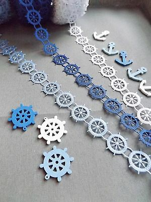 Appliques Crafts 10pcs -Iron//On,Blue Satin Anchor Sailor  Marine- Trimming